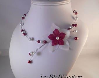 Burgundy & white AZALEA wedding necklace