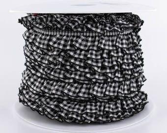Lace ruffle gingham ruffled elastic 19mm black