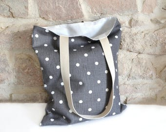 Tote bag in linen dots pattern