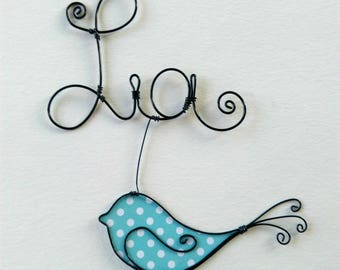 """Name personalized wire """"Singing bird"""" decoration for child's room wall cloud"""