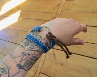 Bracelet jean's boheme ethnique upcycling