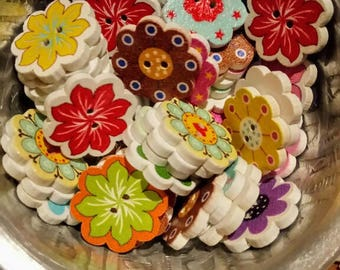 10 floral mix pattern printed wooden buttons