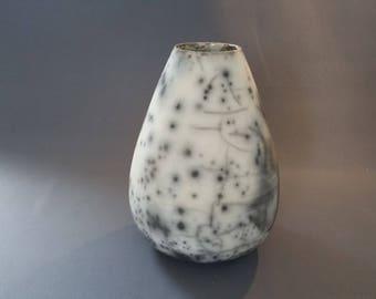 Black and white smooth naked Raku ceramic pot