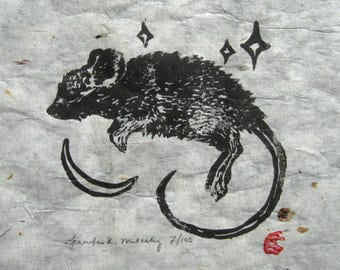 Over the Moon Mouse in the Stars Linocut Block Print Natural Handmade Botanical Paper