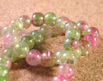 48 beads 6 mm glass plated AB - translucent green and pink PE203 2