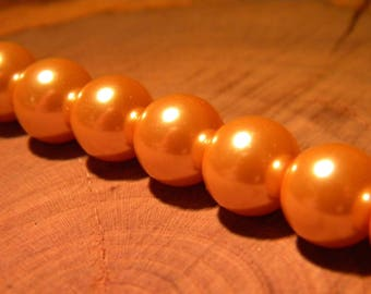 20 - Pearl - iridescent clear 10 mm orange glass beads - way PF3 13 cultured pearl