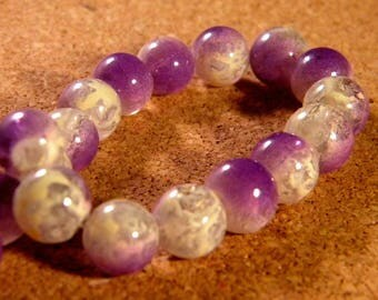 20 glass beads 10 mm speckled 2 tone translucent - purple PE188-5