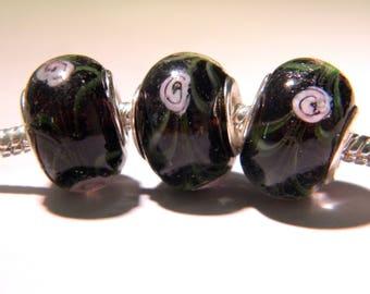 2 bead charm European - glass lampwork - 14 x 11 mm - black-inlaid rose - D45