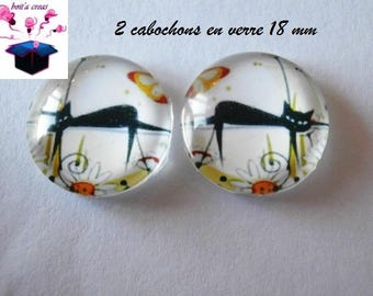 2 cat Butterfly themed 18mm domed glass cabochon