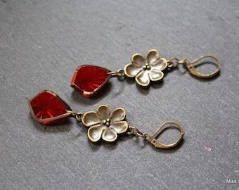 Red glass dangle bronze earrings
