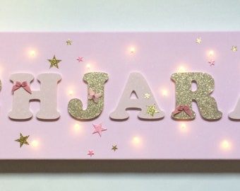 Light canvas - canvas miner name - pink and gold - letter wood baby - pink girly birth - name girl gold and rose wood