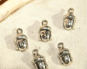 X 5 10 X 0 solid Tibetan silver Buddha head pendant, 9mm