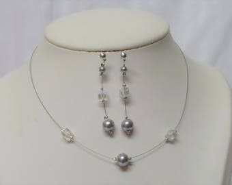Set 2 pieces wedding necklace, and silver grey pearls earrings