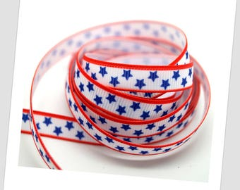 1 meter of Ribbon 9mm - blue star / US
