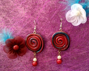 Red and blue fimo earrings