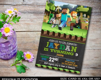 Mine Themed Invitation,Mine Themed Birthday,Mine Themed Birthday Invitation,Mine Themed Party,MIne Themed Printable,Mine Themed-NR120