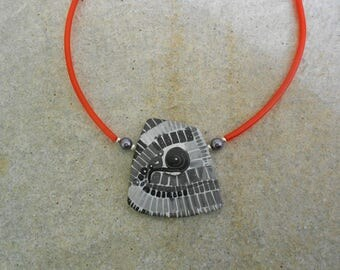 Black, gray, white and Red mosaic necklace