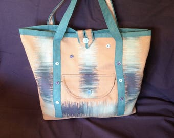 Great beach bag or city canvas string and turquoise.