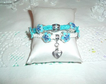 Blue and white cotton with flowers bracelet