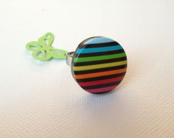 Colorful ring cabochon polymer clay little scratches