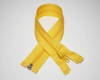 Zip closure, 30 cm, yellow, detachable
