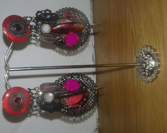 Red and black charms clip earrings