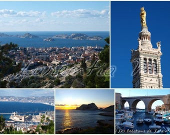 Photo memory 30X40cm: different views of Marseille