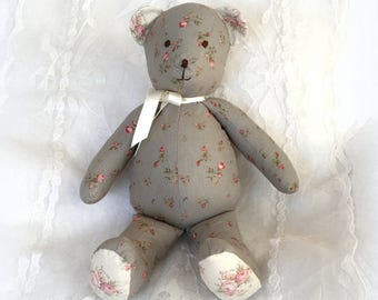 """Bear collection """"Betsy"""" vintage shabby blue fabric"""
