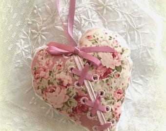Shabby pink embroidered vintage hanging heart