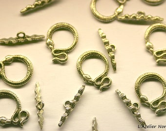 """Toggle clasp """"Snake LOVE"""" silver plated 16mm x 21 mm * has individually *."""