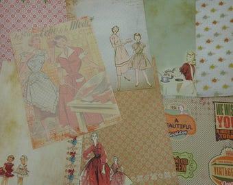 Assortment of fancy for scrapbooking paper, vintage