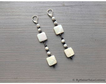 Mother of pearl and sterling silver earrings, Tahia collection