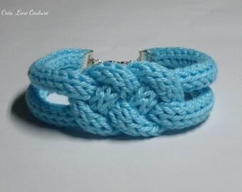 ~ Light blue knitting and sailor knot bracelet ~ available ~