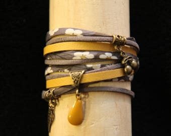Bracelet double turn gray yellow