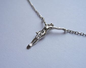Christ on cross in silver on silver chain