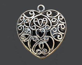 1 pendant, charm heart engraved filigree - bronze - 4.5 x 5 cm