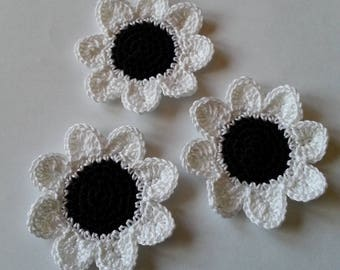 Black and white crochet cotton flower applique