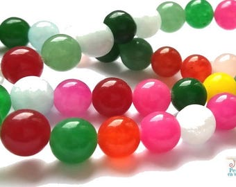 1 strand of 50 beads of jade 8mm mixed colors (pg140)