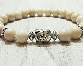 Buddha bracelet men women fossil bracelet mala prayer beads healing bracelet nature stone bracelet silver buddha jewelry stretch gemstone