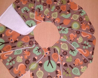 Set of 10 large wipes cleansing or washable baby squirrels