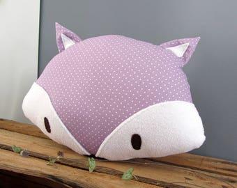 Purple Fox decorative pillow with polka dots