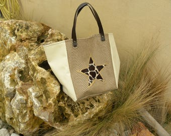 tote bag in beige imitation leather and Star