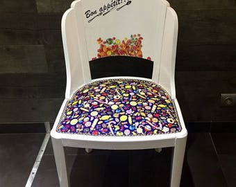 Chair wooden candy Candy Bon appetit! Black White Shabby Chic
