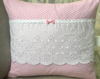 Cushion 40 x 40 polka dots Pink White eyelet cotton lace bow Shabby Chic