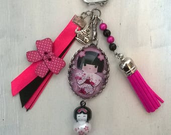 """Jewelry bag or key ring with cabochon """"Japanese Doll"""" theme"""