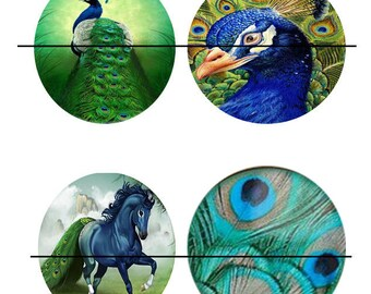 SALE 25 mm 4 nice Cabochons glass 25 mm Peacock stick
