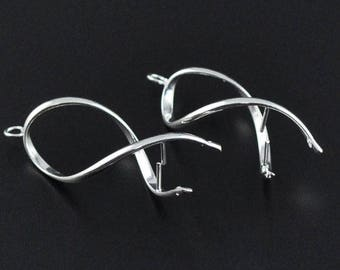 Earring pendants 10 prong Silver Ribbon
