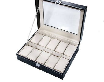 Black display box box for 10 watches