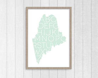 MODERN and FRESH ABC Print, State of Maine, Alphabet Art Print, Nursery Decor, Playroom Decor, Bedroom Decor, Art & Collectibles, Print