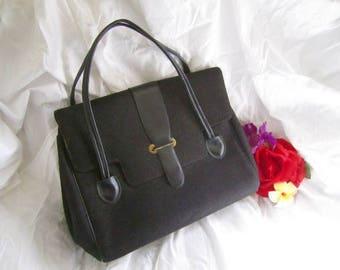 50s Purse Handbag Black Woven Wool MCM Mad Men Rockabilly Double Wrist Strap Large Vintage 60s Satchel Overnight Bag